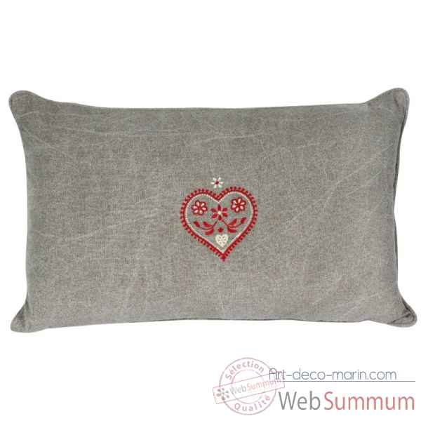 "Coussin 30 x 50 cms ""collection cervin\"" couleur gris delave Antic Line -SEB13961"