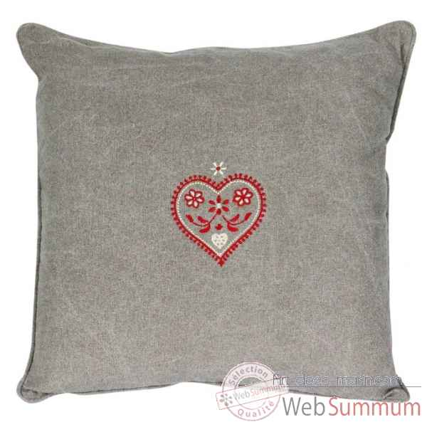 "Coussin 40 x 40 cms ""collection cervin\"" couleur gris delave Antic Line -SEB13960"