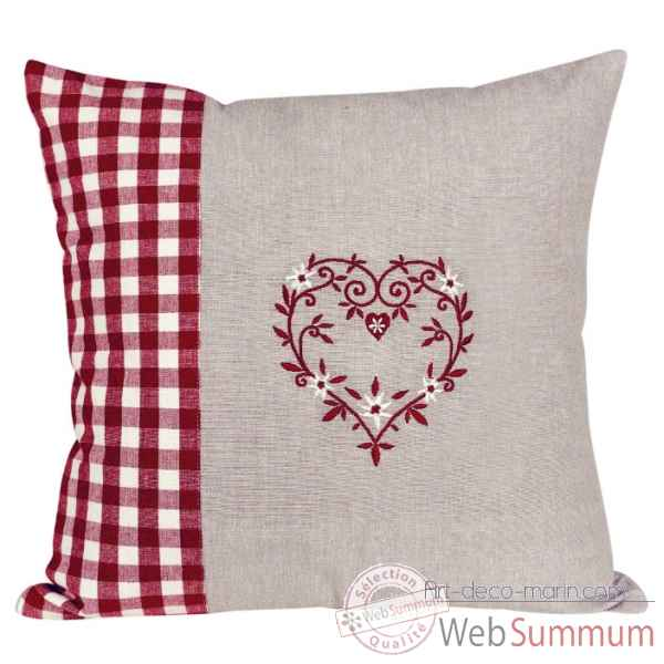 "Coussin 40 x 40 ""collection campagne coeur\"" Antic Line -SEB12602"