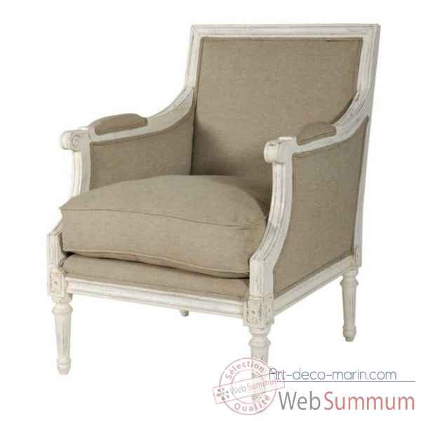 "Fauteuil bergere \""marquise\\\"" textile lin - blanc patine Antic Line -CD199"