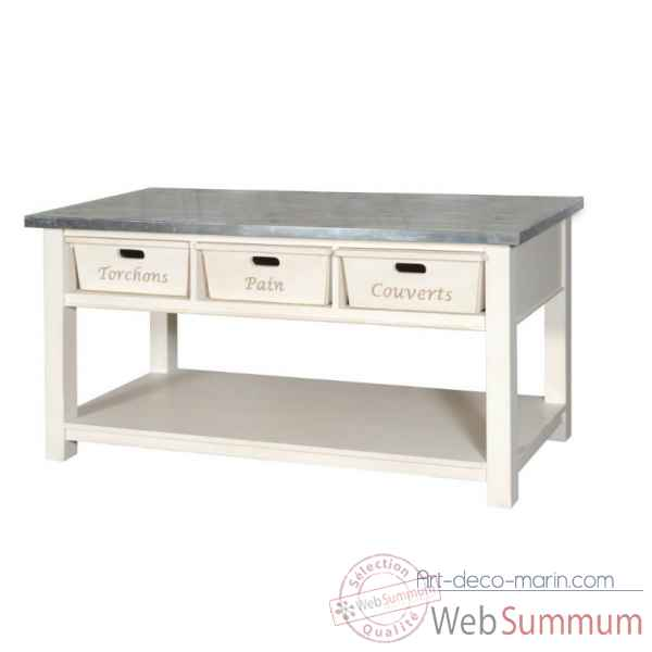 Table console campagne double face plateau tole zinguee (ecriture en option) Antic Line -CD248