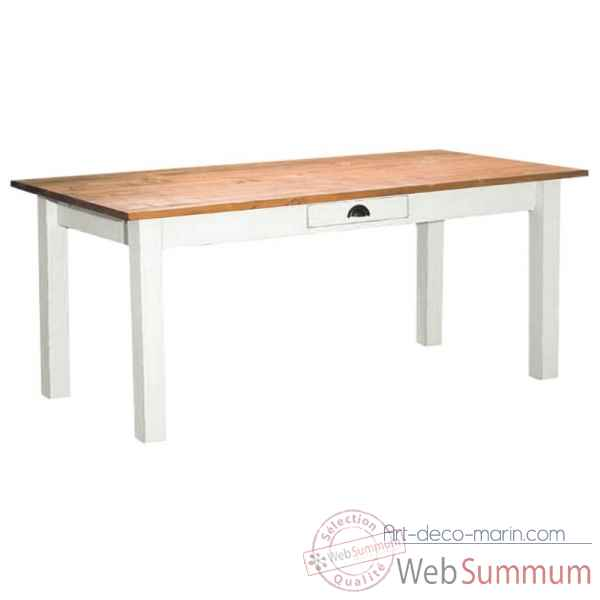 Table de ferme 1 tiroir (poignee coquille) rallonge en option voir reference cd299 Antic Line -CD298