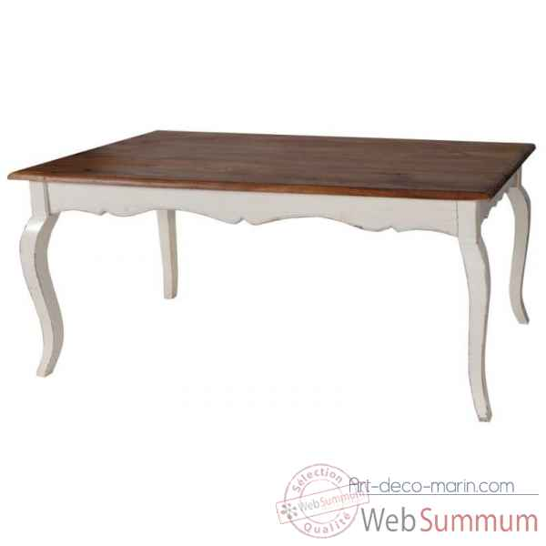 Table de salle a manger blanc patine-plateau cire Antic Line -CD174