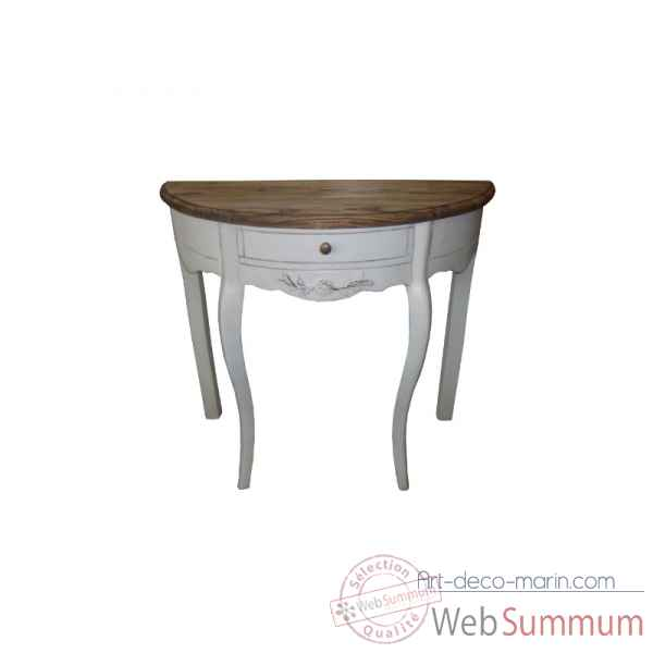 Table demi lune blanc patine - plateau cire Antic Line -CD482