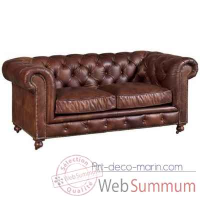 Canape kensington en cuir couleur whisky 2 places arteinmotion -div-ken0147