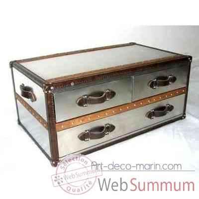 Table basse stonyhurst en acier brillant avec 3 tiroirs h 450 x 1010 ...