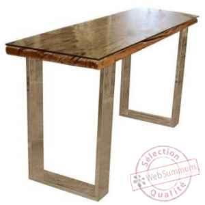 Table Console Oregon En Acier Et Bois Recycle Et Verre Arteinmotion Tav Leg0065