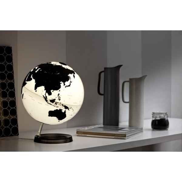 Globe lumineux light and colour blanc base noire en anglais