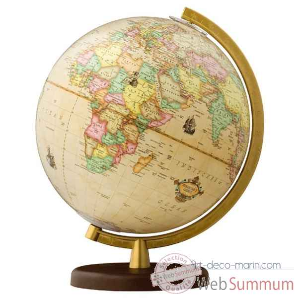 Globe 30 cm antique pied plastique dore columbus -CO603013