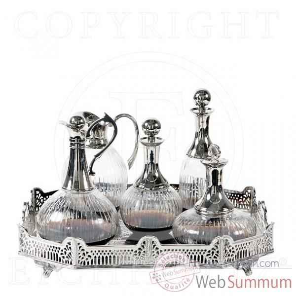 Eichholtz carafe a decanter set de 5 nickel et verre -acc04404