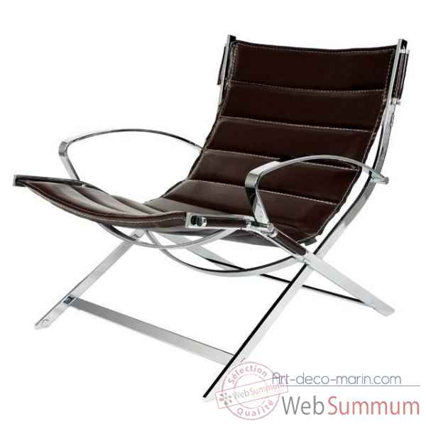 Eichholtz chaise robert redford nickel et cuir marron -chr06319