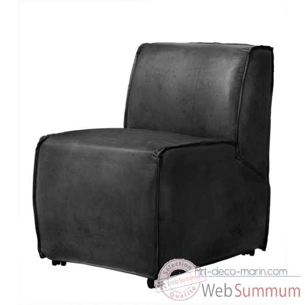 Chaise savannah black leather Eichholtz -06682