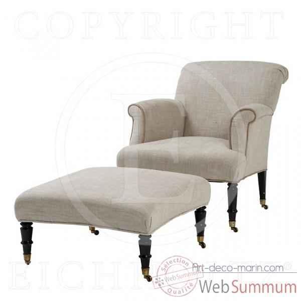 eichholtz fauteuil et repose pieds dominique lin blanc cass et pieds noirs chr05736. Black Bedroom Furniture Sets. Home Design Ideas