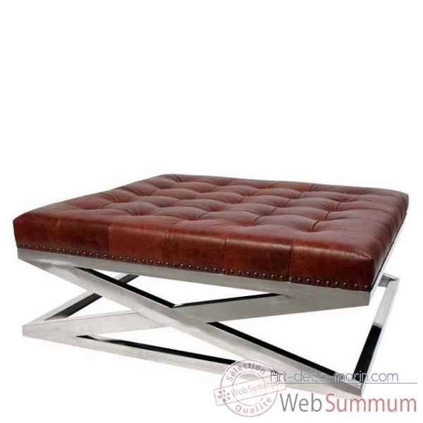 Eichholtz table basse cooper nickel et cuir marron -tbl06322
