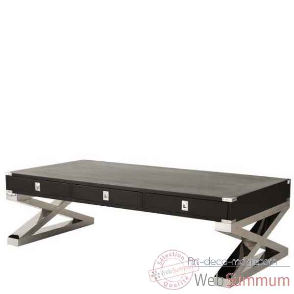 Eichholtz table basse montana nickel et noir -tbl06455
