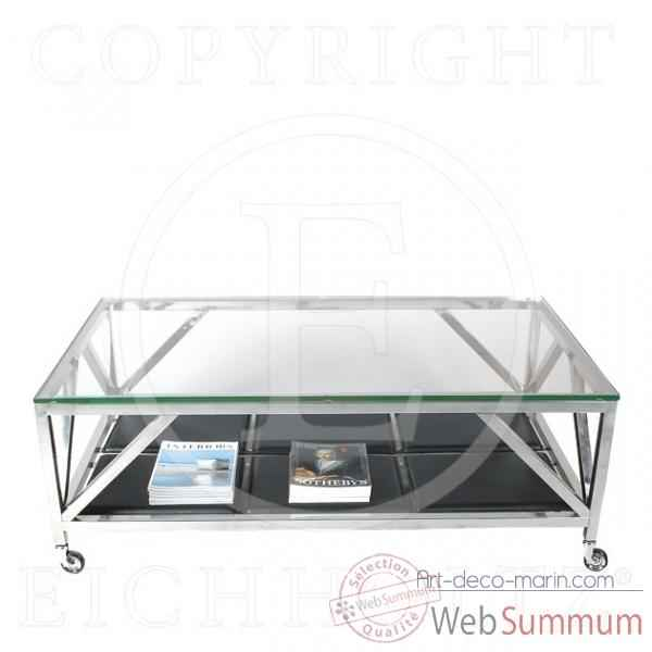 Eichholtz table basse prado acier inoxydable avec verre de - Table basse verre acier ...