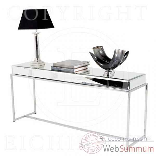eichholtz table console beverly hills acier inoxydable verre de miroir biseaut. Black Bedroom Furniture Sets. Home Design Ideas