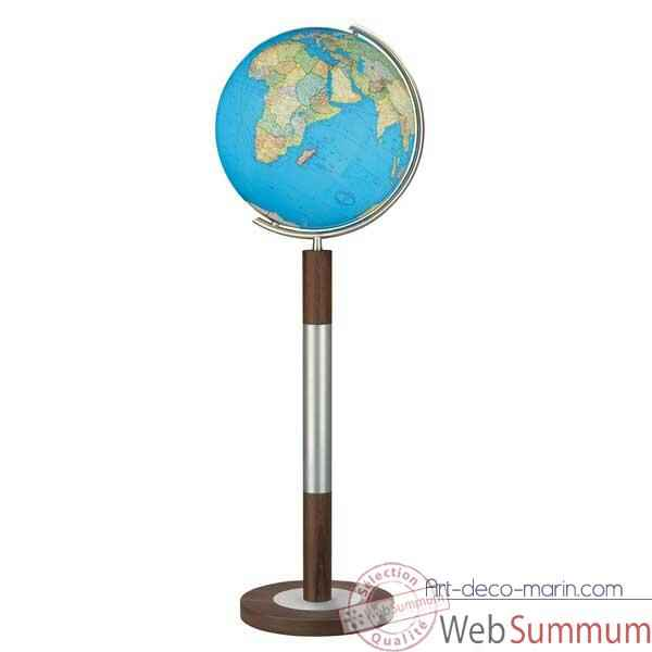 Video Globe geographique Colombus lumineux - modele Prestige  - sphere 40 cm, meridien metal acier fin-CO204088