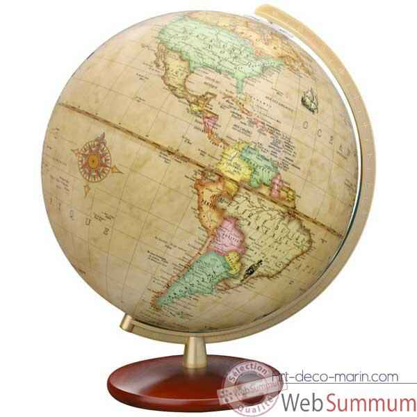 Globe geographique Colombus lumineux - modele DUPLEX Antique - sphere 30 cm-CO603052