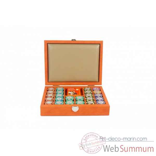 Coffret poker cuir couture orange -C806C-o