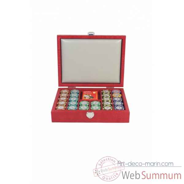 Coffret poker cuir imprime crocodile rouge -C802C-r
