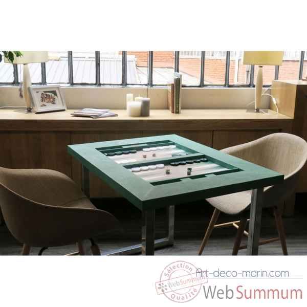Table de backgammon cuir couture turquoise -TAB1006C-t
