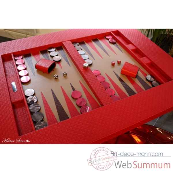Table de backgammon cuir natte rouge -TAB1003C-r -1