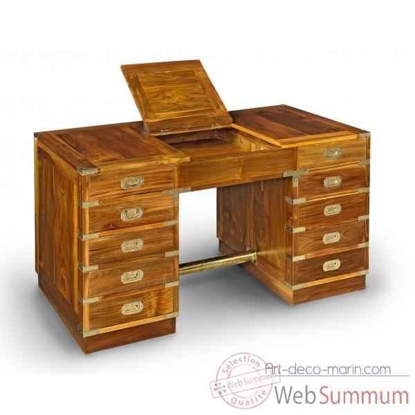 bureau double caissons en teck massif avec poignees dans meuble de navire. Black Bedroom Furniture Sets. Home Design Ideas