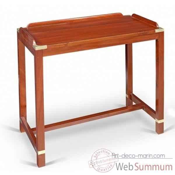 Petite table pliante en acajou massif carr e meuble de for Meuble bateau acajou