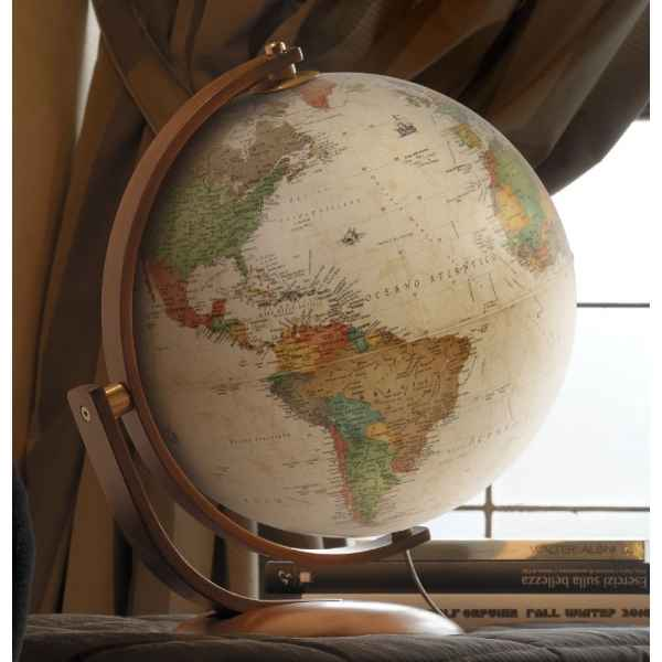 Video Globe de bureau Optimus 37 - Globe geographique lumineux - Cartographie de type antique,  reactualisee - diam 37 cm - hauteur 47 cm